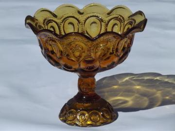 vintage amber glass moon and stars pattern compote, tall crimped candy dish