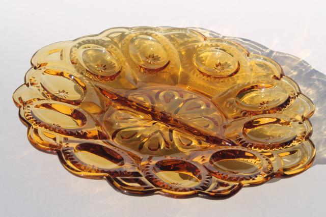 Vintage Amber Glass Moon Amp Stars Pattern Egg Plate