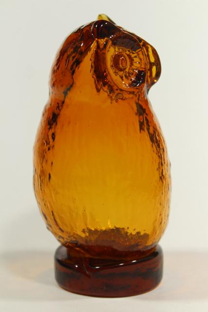 vintage amber glass owl, Viking glass paperweight figurine, 70s retro!