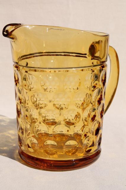 Vintage Amber Glass Pitcher Thumbprint Dots Optic Dot
