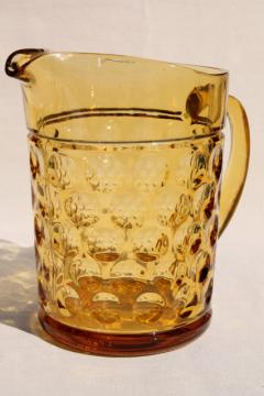 vintage amber glass pitcher, thumbprint dots / optic dot coin spot pattern glass
