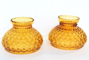 vintage amber glass quilted lampshades, replacement student lamp desk light shade pair