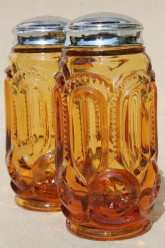 vintage amber glass salt & pepper shakers, moon & stars pressed glass S&P set