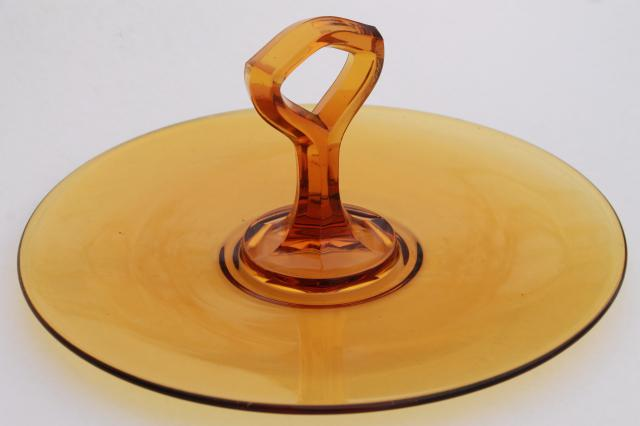 Vintage Amber Glass Serving Plate Sandwich Or Cake Tray W