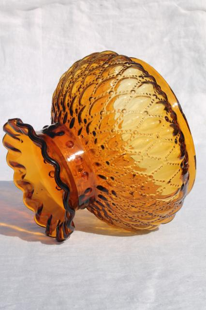Vintage Amber Glass Shade Diamond Quilt Quilted Glass