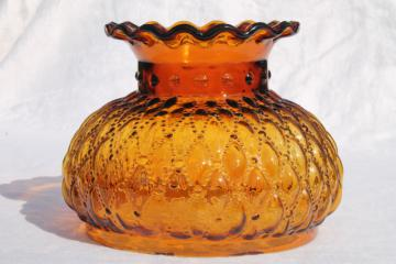 vintage amber glass shade, diamond quilt quilted glass lampshade for student lamp