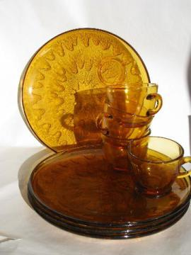 vintage amber glass snack sets, round starburst plates & cups