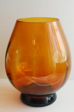 vintage amber glass store counter display jar, large fish bowl vase