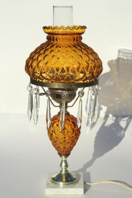 Vintage Amber Glass Table Lamp W Crystal Prisms Quilted Pressed
