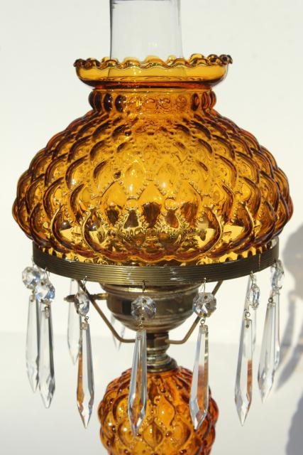 Vintage Amber Glass Table Lamp W Crystal Prisms Quilted