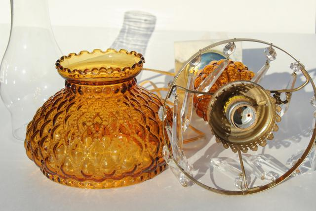 vintage amber glass table lamp w/ crystal prisms, quilted pressed glass shade