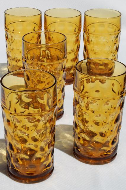 Vintage Amber Glass Tumblers Never Used Set Of 6