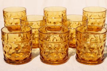 vintage amber glass tumblers, optic dot round thumbprint coin spot dotted drinking glasses
