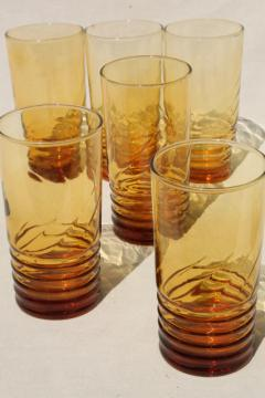 vintage amber glass tumblers, stacked ring base w/ spiral optic pattern, Libbey drinking glasses