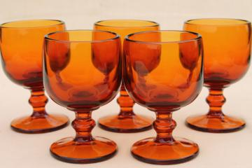 vintage amber glass wine glasses, 60s 70s retro Hoffman House stemware