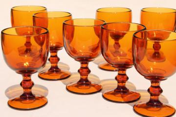 vintage amber glass wine glasses / water goblets, 60s 70s retro Hoffman House stemware
