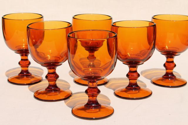vintage amber glass wine glasses water goblets 60s 70s retro hoffman house stemware
