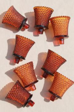 vintage amber hobnail candle cups, votive glasses for sconces or candle holders