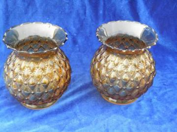 vintage amber quilted diamond pattern glass replacement chimney lamp shades