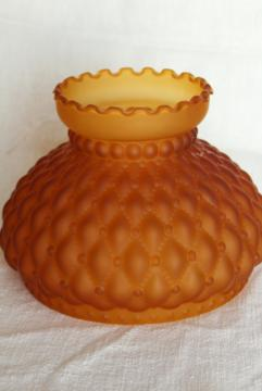 vintage amber satin glass lamp shade, quilted pattern frosted glass deep gold color