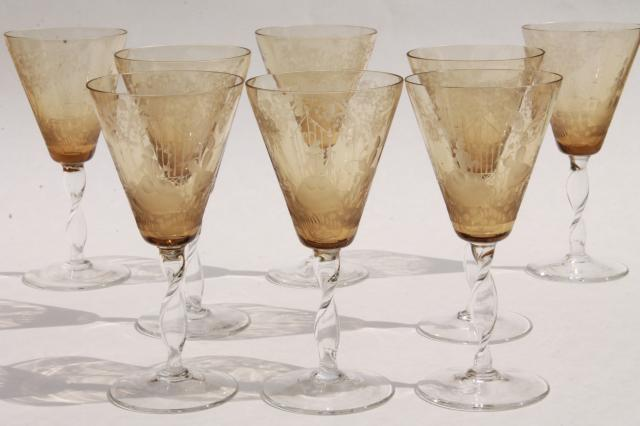 Drinkware Etched Glass Leaf
