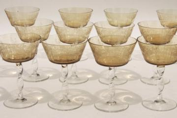vintage amber smoke etched cut glass colonial couple stemware, crystal twist stem glasses