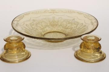vintage amber yellow depression glass, Madrid candle holders & flower bowl