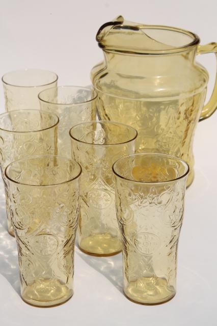 vintage amber yellow depression glass Madrid pattern lemonade set, pitcher & drinking glasses