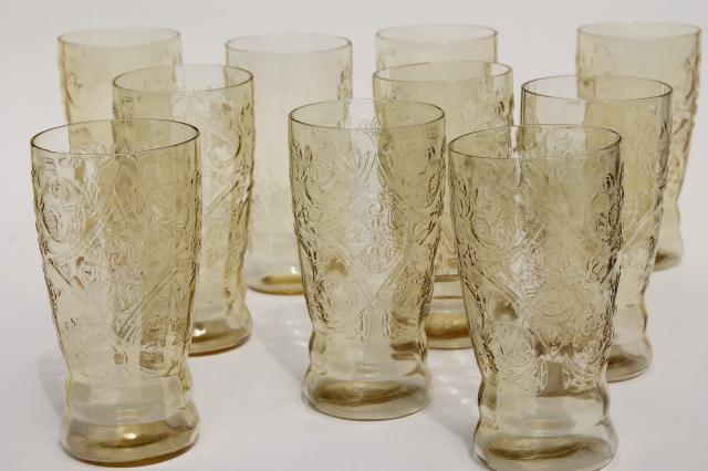 vintage amber yellow depression glass iced tea glasses, 10 Madrid pattern tumblers