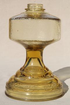vintage amber yellow glass oil lamp, font base without burner for kerosene lamp