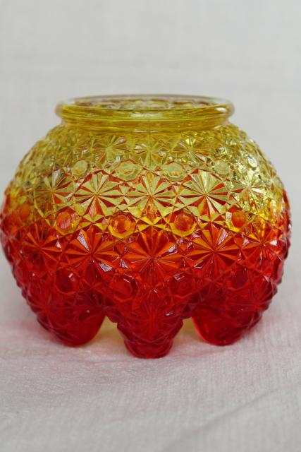 vintage amberina daisy & button glass ivy ball or rose bowl vase, crimped shape