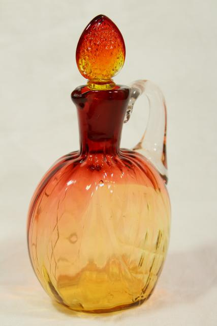 vintage amberina glass cruet bottle with strawberry stopper, antique or reproduction?