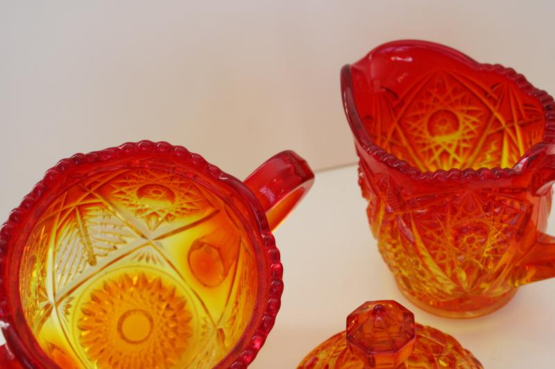 vintage amberina glass, large cream pitcher & covered sugar bowl hobstar pattern