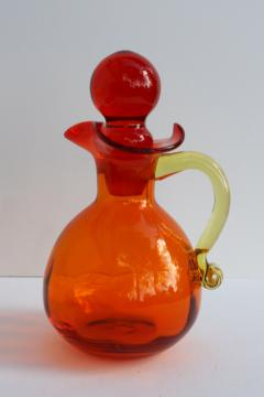vintage amberina orange cruet bottle & stopper, hand blown glass pitcher