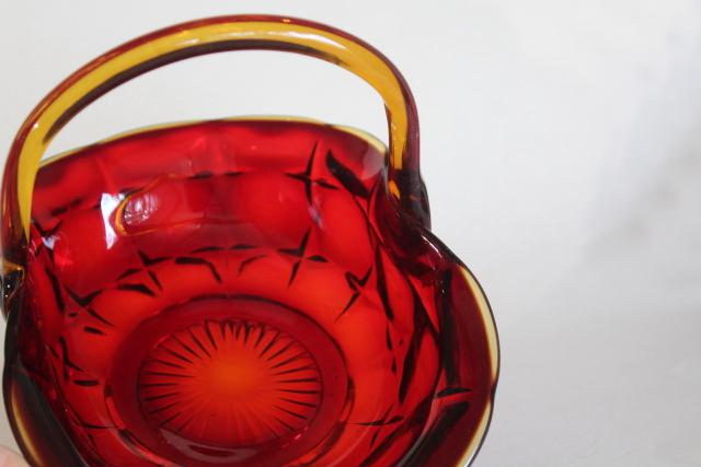 vintage amberina red amber glass basket, Constellation pattern Indiana glass