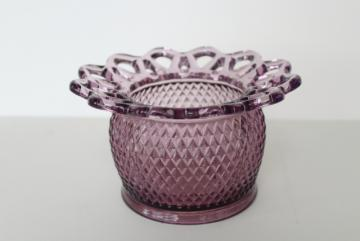 vintage amethyst purple Imperial glass rose bowl vase, open lace edge pattern