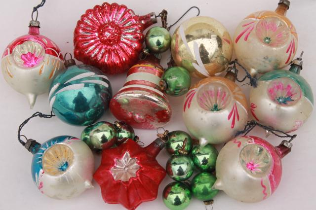 vintage antique glass Christmas tree ornaments, shabby worn fancy window  balls, bell, flower - Vintage Antique Glass Christmas Tree Ornaments, Shabby Worn Fancy