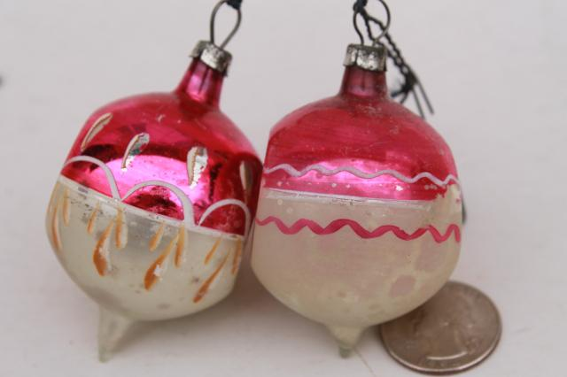 vintage antique glass christmas tree ornaments shabby worn fancy window balls bell flower - Vintage Glass Christmas Ornaments