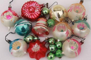 vintage antique glass Christmas tree ornaments, shabby worn fancy window balls, bell, flower