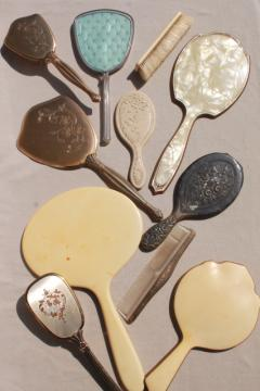 vintage & antique hand mirrors, dressing table vanity set mirror collection