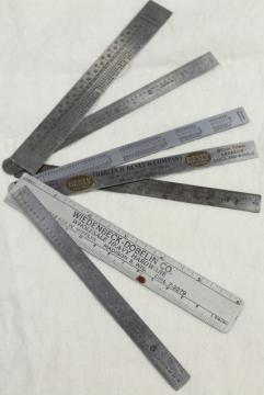 vintage & antique measuring scales, 6 inch metal rules, old tool advertising rulers