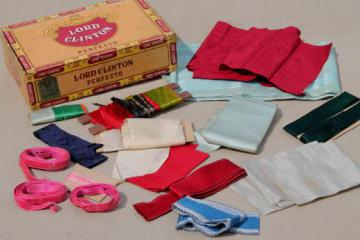 vintage & antique ribbons, some silk or velvet - millinery trim hat ribbon & sewing trim lot