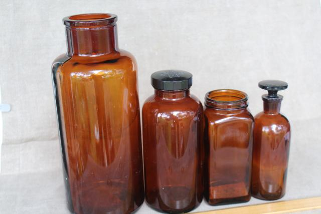 vintage apothecary bottles & jars, industrial style decor, amber brown glass bottle lot