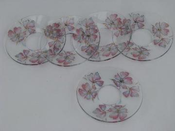vintage apple blossom glass candle bobeches for candlesticks, chandelier