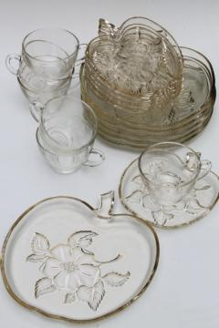 vintage apple blossom glass luncheon / snack set dishes, apple shaped plates, tea cups & saucers