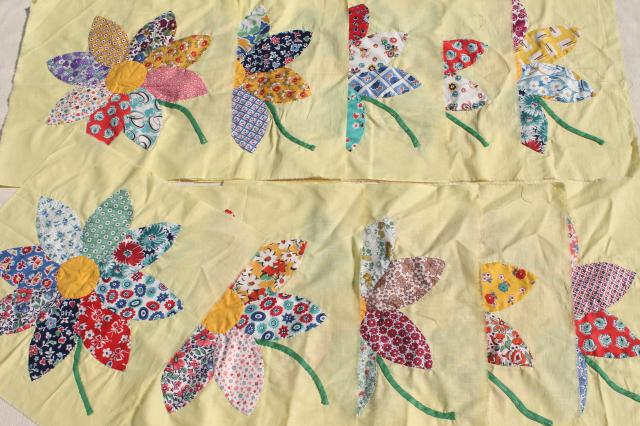 vintage applique quilt blocks, 40s 50s cotton print fabric flowers ... : print pictures on fabric for quilts - Adamdwight.com