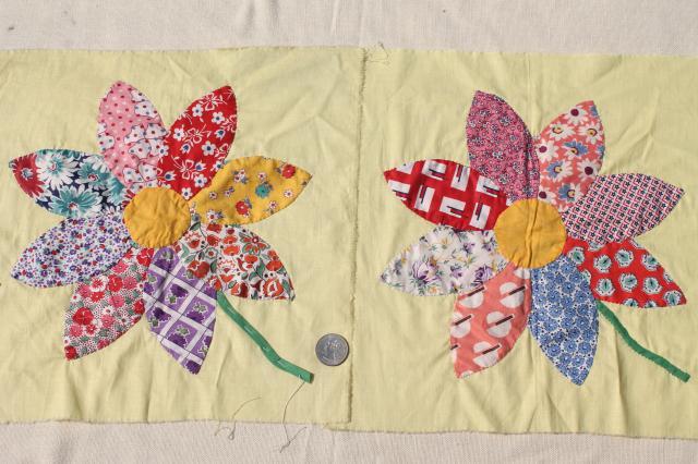 Vintage Applique Quilt Blocks 40s 50s Cotton Print Fabric Flowers