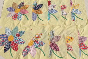vintage applique quilt blocks, 40s 50s cotton print fabric flowers, big daisies on yellow