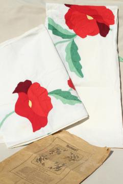 vintage applique quilt top pieces, red poppy flower cotton blocks to upcycle or complete