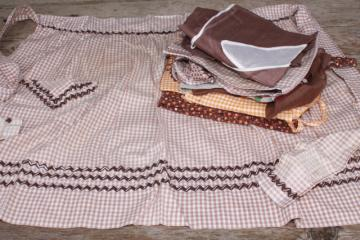 vintage apron lot, brown calico gingham kitchen aprons all retro fabric